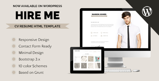 Hireme - Responsive Resume WordPress Theme