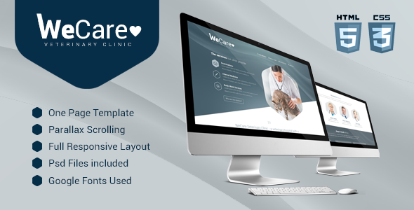 Wecare Veterinary Clinic - Parallax Landing Page